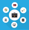 flat icon incoming set of chart portfolio bank vector image vector image