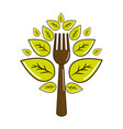 fork kitchen tool with leaves vector image vector image