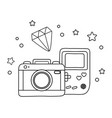 game boy camera and diamond black and white vector image vector image
