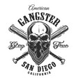 gangster emblem with skull in bandana vector image vector image
