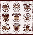 gold mining resource extraction vintage emblems vector image vector image