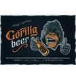 gorilla beer - gothic retro typeface with corilla vector image