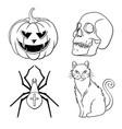 halloween icons set pumpkin skull spider red cat vector image vector image