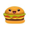 hamburger character kawaii style vector image vector image