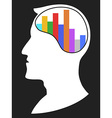 head with bar chart vector image vector image