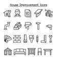 house improvement icon set in thin line style vector image vector image