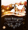 house on abstract christmas background vector image vector image
