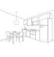 interior sketch of kitchen room outline blueprint vector image vector image
