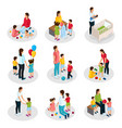 isometric nanny work set vector image