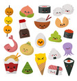 kawaii food emoticon japanese sushi vector image