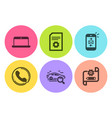 laptop search car and call center icons set mail vector image vector image