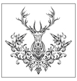 Logo graphic deer with floral ornaments vector image vector image