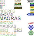 Madras text design set vector image vector image