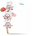 menu with funny chef cartoon vector image vector image