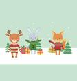 merry christmas celebration cute fox deer rabbit vector image vector image