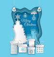 merry christmas postcard with paper cut pine tree vector image