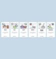 mobile app onboarding screens food menu in cafe vector image