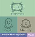 Monogram Frames Craft Shapes Set vector image