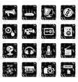 multimedia internet icons set grunge vector image vector image
