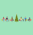 people walking with purchases merry christmas vector image