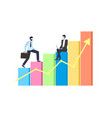 person going up stairs worker with laptop vector image vector image