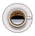 pixel coffee top view detailed isolated vector image