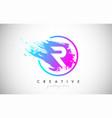 r artistic brush letter logo design in purple