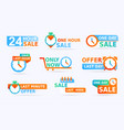 sale banners and promo stickers one day sales and vector image