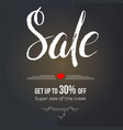sale get up to 30 percent discount calligraphy vector image