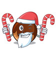 santa with candy chocolate donut mascot cartoon vector image vector image