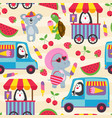 seamless pattern with animals and ice cream vector image