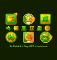 set app icons in a frame for st patricks day vector image vector image
