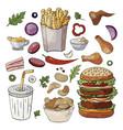set og hand drawn fast food elements vector image vector image