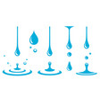 set splash icons drops and bubbles vector image vector image