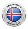 Silver medal Made in Iceland with flag vector image vector image