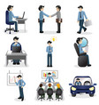 small business people icons in different situation vector image vector image