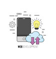 smartphone with web code programming software vector image vector image