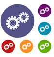 two gears icons set vector image vector image