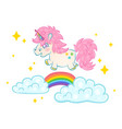 unicorn on clouds with rainbow vector image vector image