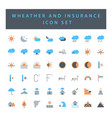 weather and insurance icon set with colorful vector image