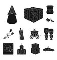 wedding and attributes black icons in set vector image