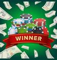 winner background gambling poker chips vector image vector image