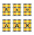 Yellow metallic barrels with warning sign vector image vector image