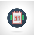 Calendar page 31 blue round flat icon vector image
