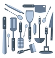 Set Isolated kitchen tools knife spatula rolling vector image