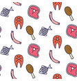 butcher shop line icon seamless pattern vector image