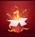 1 st year number anniversary and open gift box vector image vector image