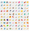 100 bakery icons set isometric 3d style vector image vector image