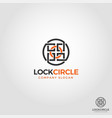 abstract lock circle logo template vector image