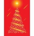 Abstract red christmas tree postcard